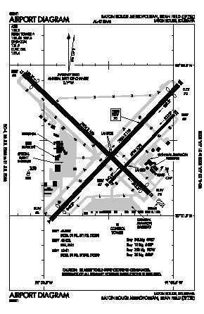 Baton Rouge Metropolitan Ryan Field Airport BTR  Map