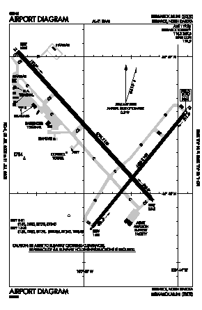 Bismarck Municipal Airport (BIS) diagram