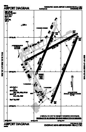 Cincinnati Municipal Airport Lunken Field Airport (LUK) diagram