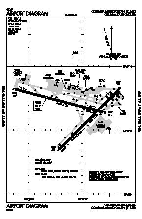 Columbia Metropolitan Airport CAE Map Aerial Photo Diagram