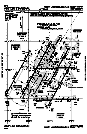 Detroit Metropolitan Wayne County Airport (DTW) diagram