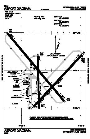 Hutchinson Municipal Airport (HUT) diagram