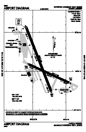 Hawkins Field Airport (HKS) diagram