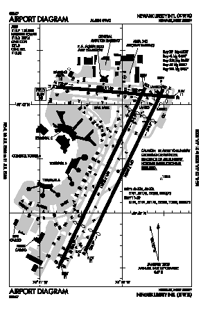 Newark Liberty International Airport (EWR) - Map, Aerial Photo ...