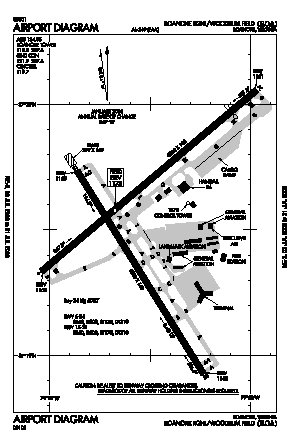 Roanoke Rgnl/woodrum Field Airport (ROA) diagram