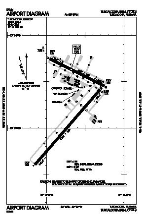 Tuscaloosa Regional Airport (TCL) diagram