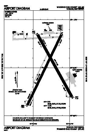 Wheeling Ohio Co Airport (HLG) diagram