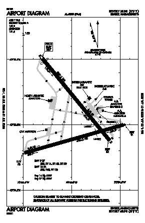 Beverly Municipal Airport (BVY) diagram