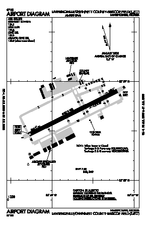 Gwinnett County - Briscoe Field Airport (LZU) diagram
