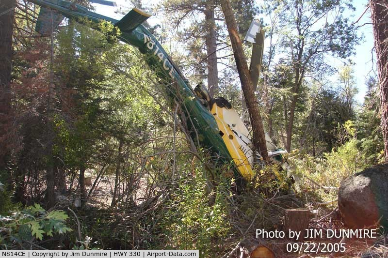 N814CE, 2004 Eurocopter AS-350B-3 Ecureuil C/N 3847, Snow Valley, Ca  Day after Aircraft crashed. Pilot lived with Serious Injury