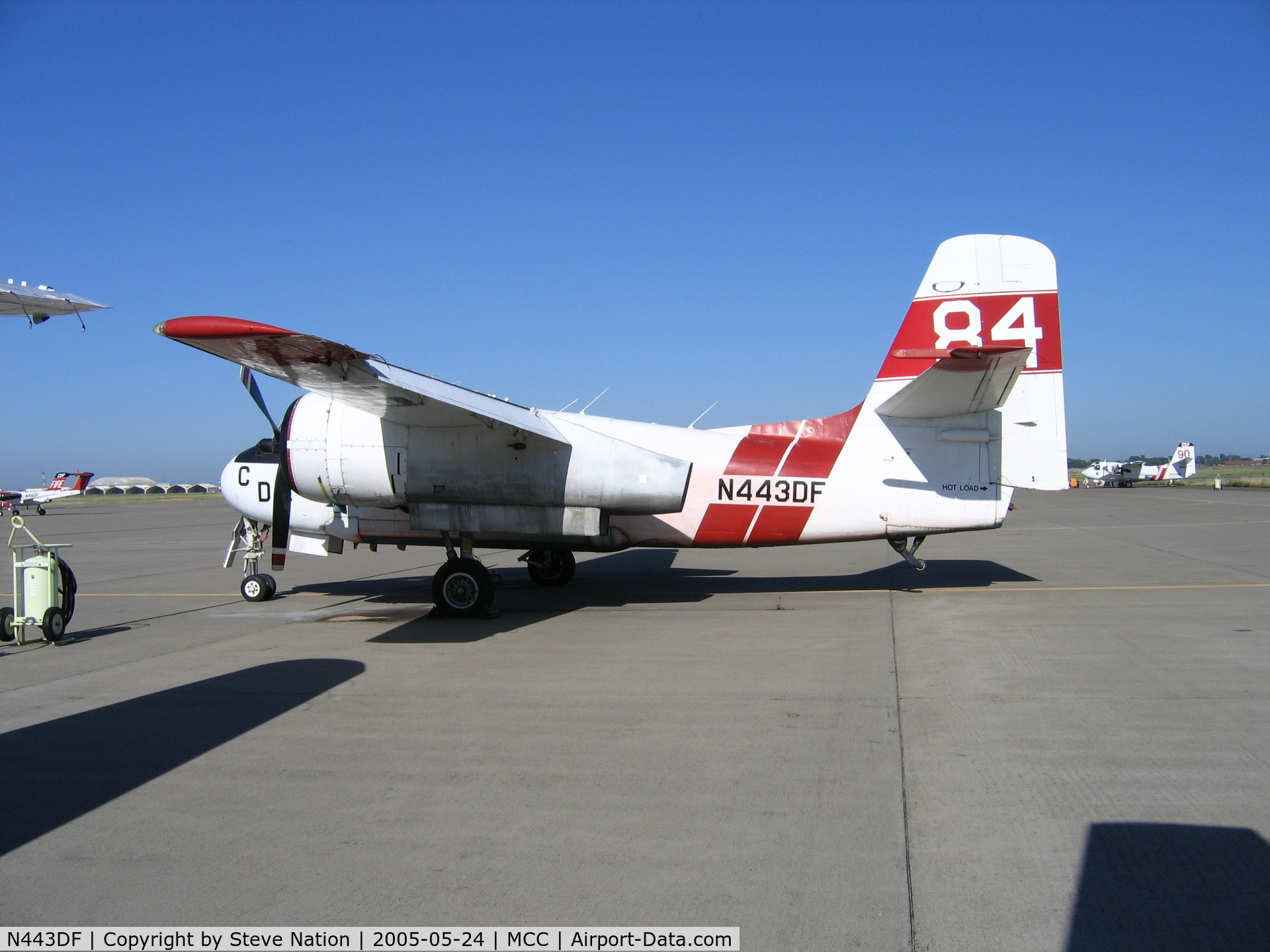 N443DF, Grumman S2F-1 Tracker C/N 195, CDF TS-2A #84 on CDF ramp at McClellan AFB, CA (retired after 2004 season)