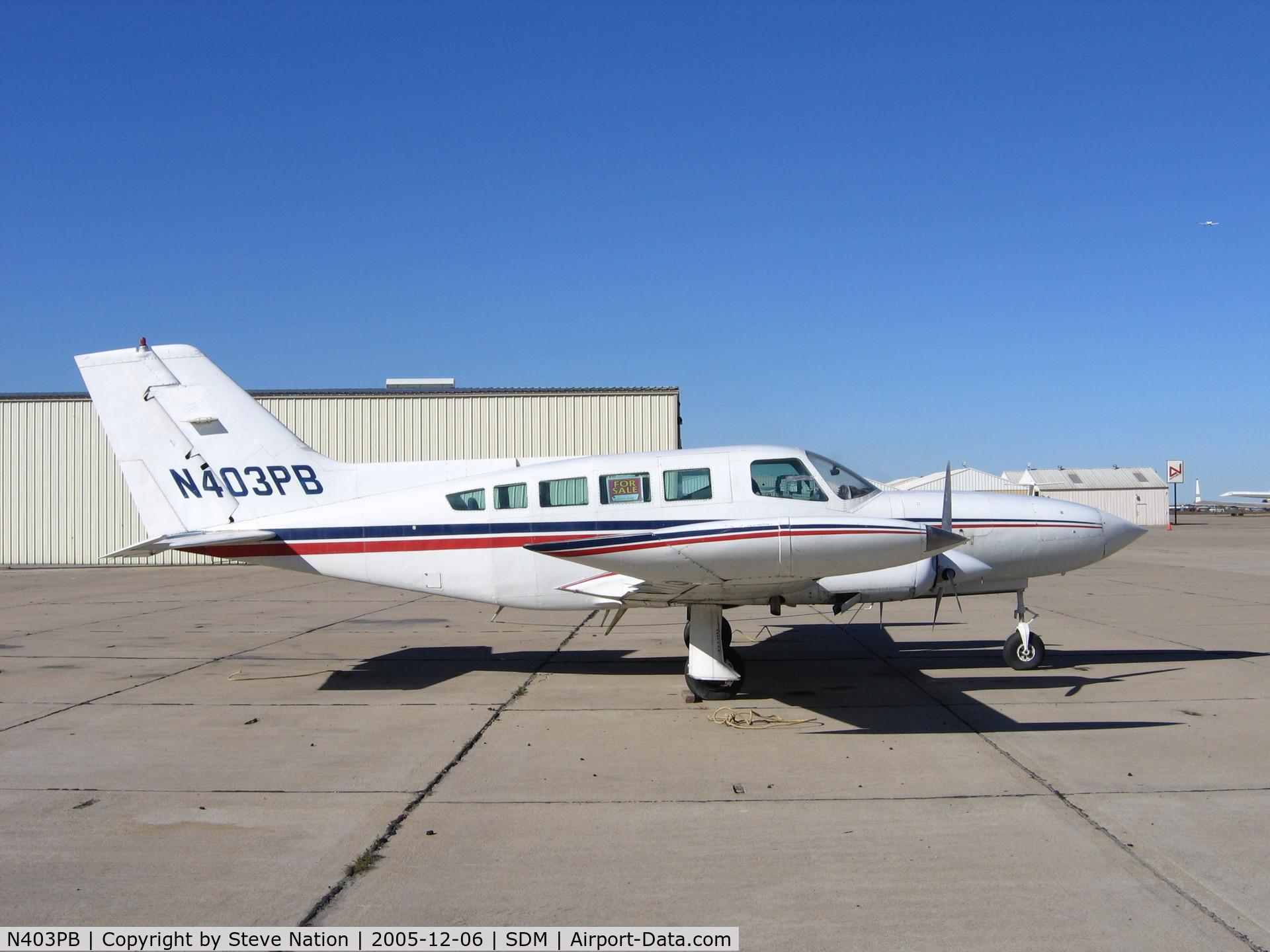 N403PB, 1976 Cessna 402B C/N 402B-1217, 1976 Cessna 402B at Brown Field (San Diego), CA in bright December sunshine