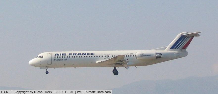 F-GNLI, 1990 Fokker 100 (F-28-0100) C/N 11315, On short finals at Palma de Mallorca