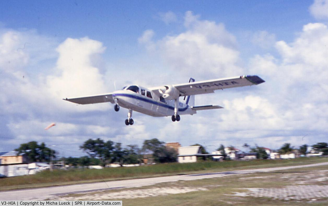 V3-HIA, 1979 Britten-Norman BN-2A-26 Islander C/N 2015, Britten Norman Islander of Island Air taking off at SPR for the 13 minute hop to Belize City Municipal (January 1993)