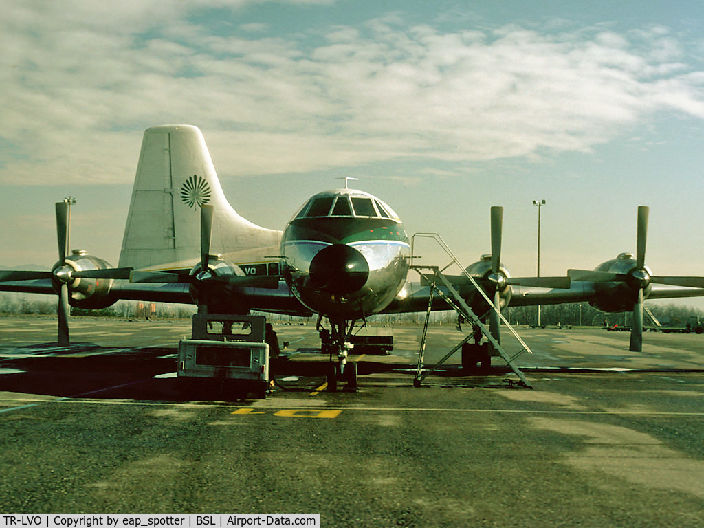 TR-LVO, 1961 Canadair CL-44D4 C/N 20, Parked in the Cargo-Area waiting to be loaded