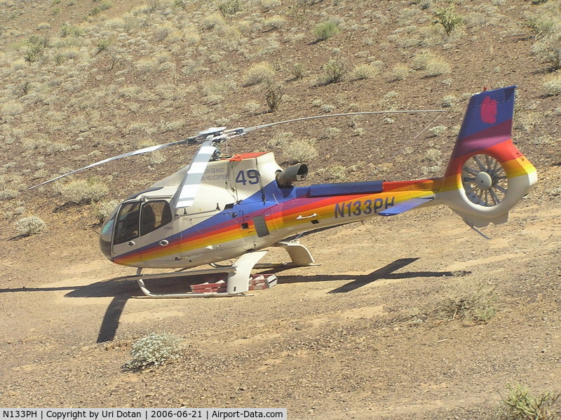 N133PH, Eurocopter EC-130B-4 (AS-350B-4) C/N 3939, operated by Papillon grand canyon helicopters. Picture was taken at the bottom of the grand canyon.