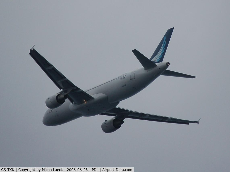 CS-TKK, 2005 Airbus A320-214 C/N 2390, Climbing out of Ponta Delgada/Azores