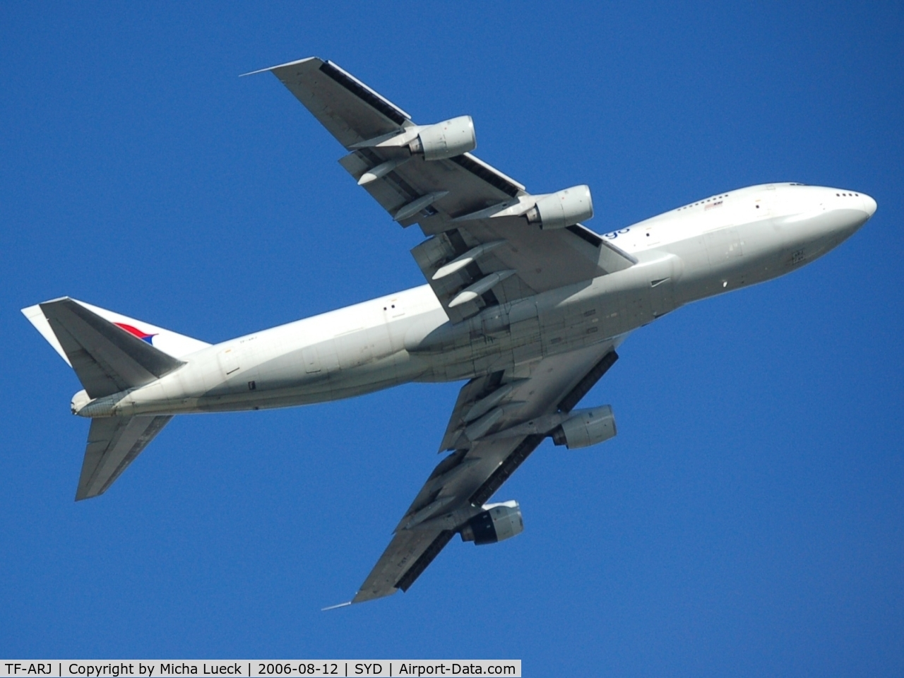 TF-ARJ, 1987 Boeing 747-236B C/N 23735, Climbing out of Sydney