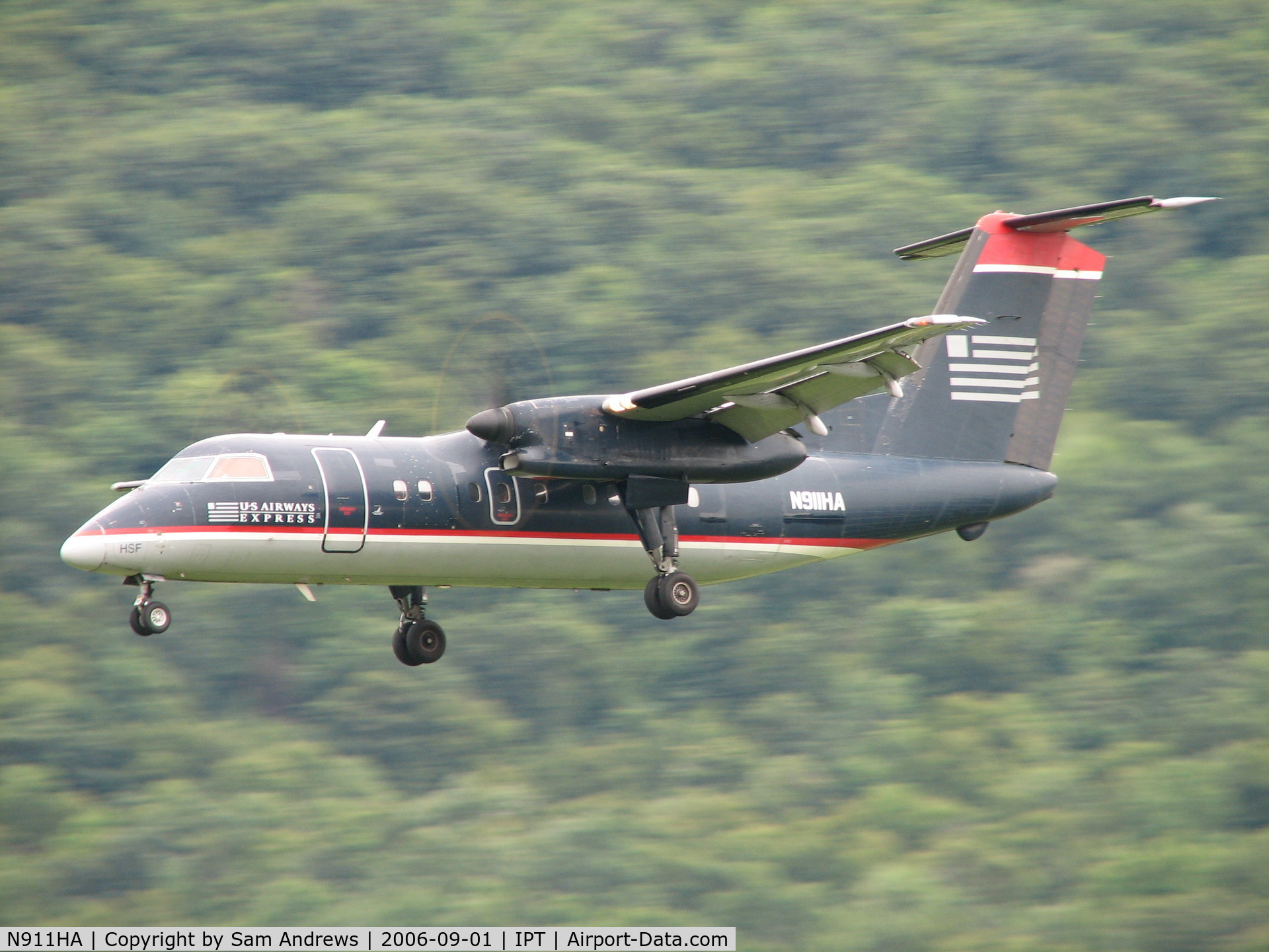 N911HA, De Havilland Canada DHC-8-102 Dash 8 C/N 034, Short finall for a really sweet landing.
