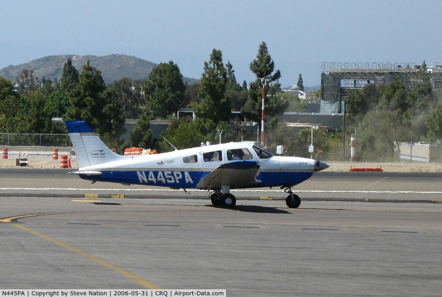 N445PA, 2001 Piper PA-28-181 C/N 2843500, Pan Am Flight Training 2001 Piper PA-28-181 (w/titles) taxying @ McClellan-Palomar Airport, CA