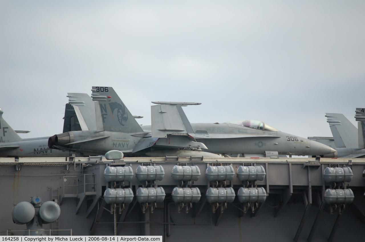 164258, 1991 McDonnell Douglas F/A-18C Hornet C/N 1021/C239, McDonnell Douglas F/A 18C Hornet (164258) on the Kitty Hawk in Fremantle, Australia