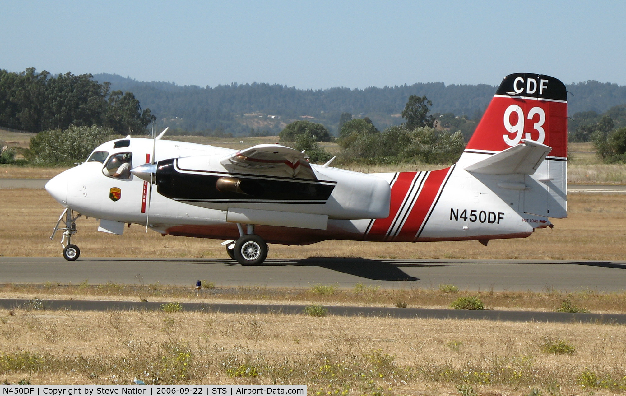 N450DF, 2005 Marsh Aviation S-2F3AT C/N 152341, Pilot Walt Darren taxis CDF S-2T Tanker #93 (Chico, CA-based) for take-off at Charles M. Shulz Airport, Santa Rosa, CA and retardent drop on Yountville Fire