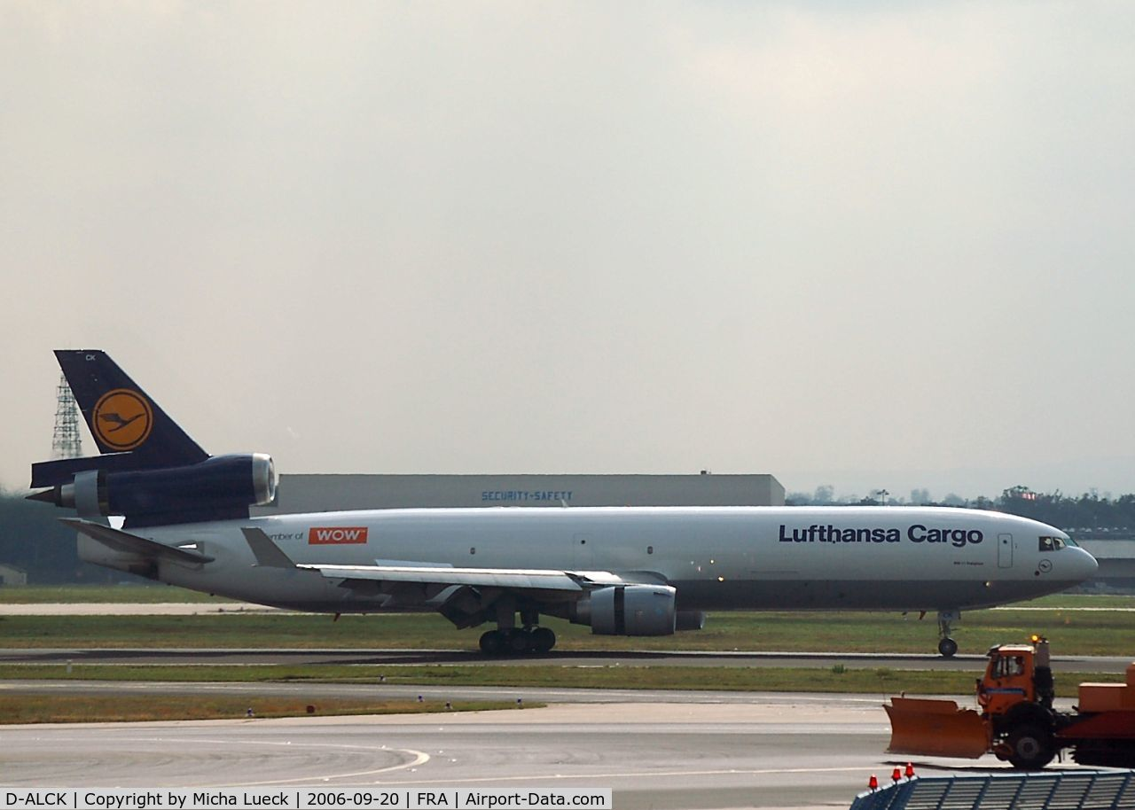 D-ALCK, 2000 McDonnell Douglas MD-11F C/N 48803, just touched down- thrust reversers deployed