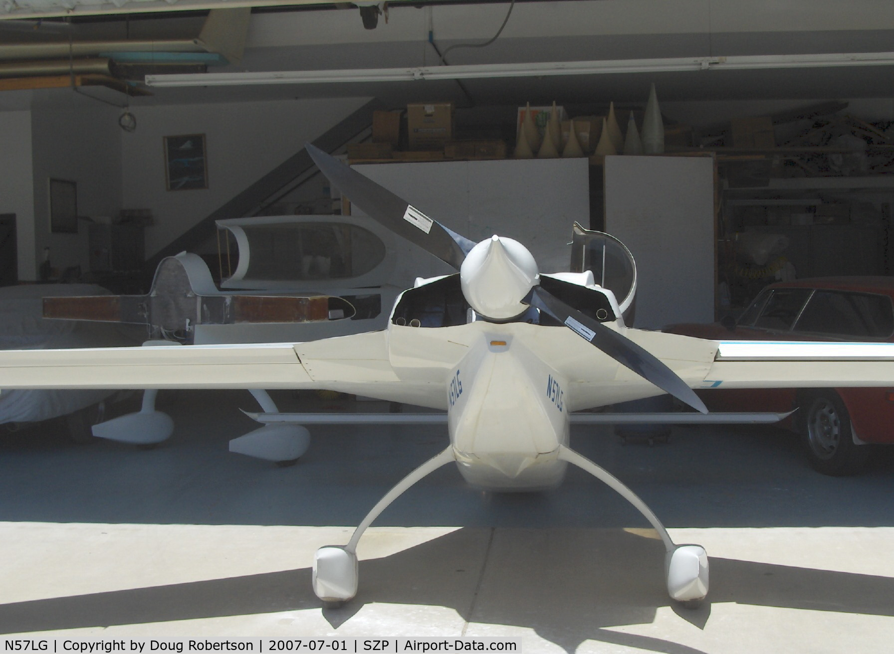 N57LG, 1983 Rutan VariEze C/N 57Z, 1983 Godsey/Klaus Savier modified Rutan VARI-EZE, Continental O-200 100+ Hp, World multiple record FAI speed holder, scimitar prop and modified shape spinner