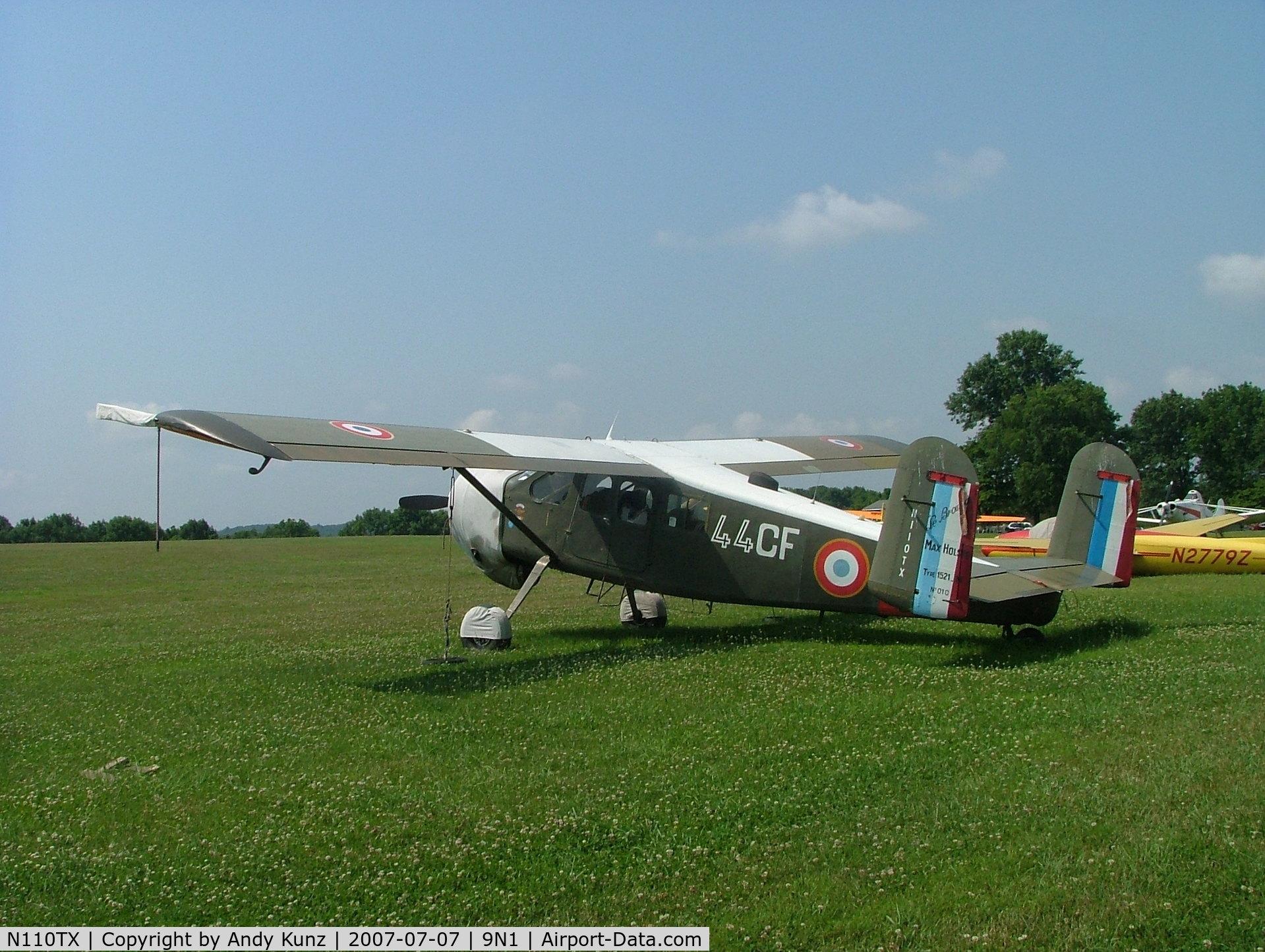 N110TX, 1955 Max Holste MH-1521M Broussard C/N P010, 3/4 Rear View