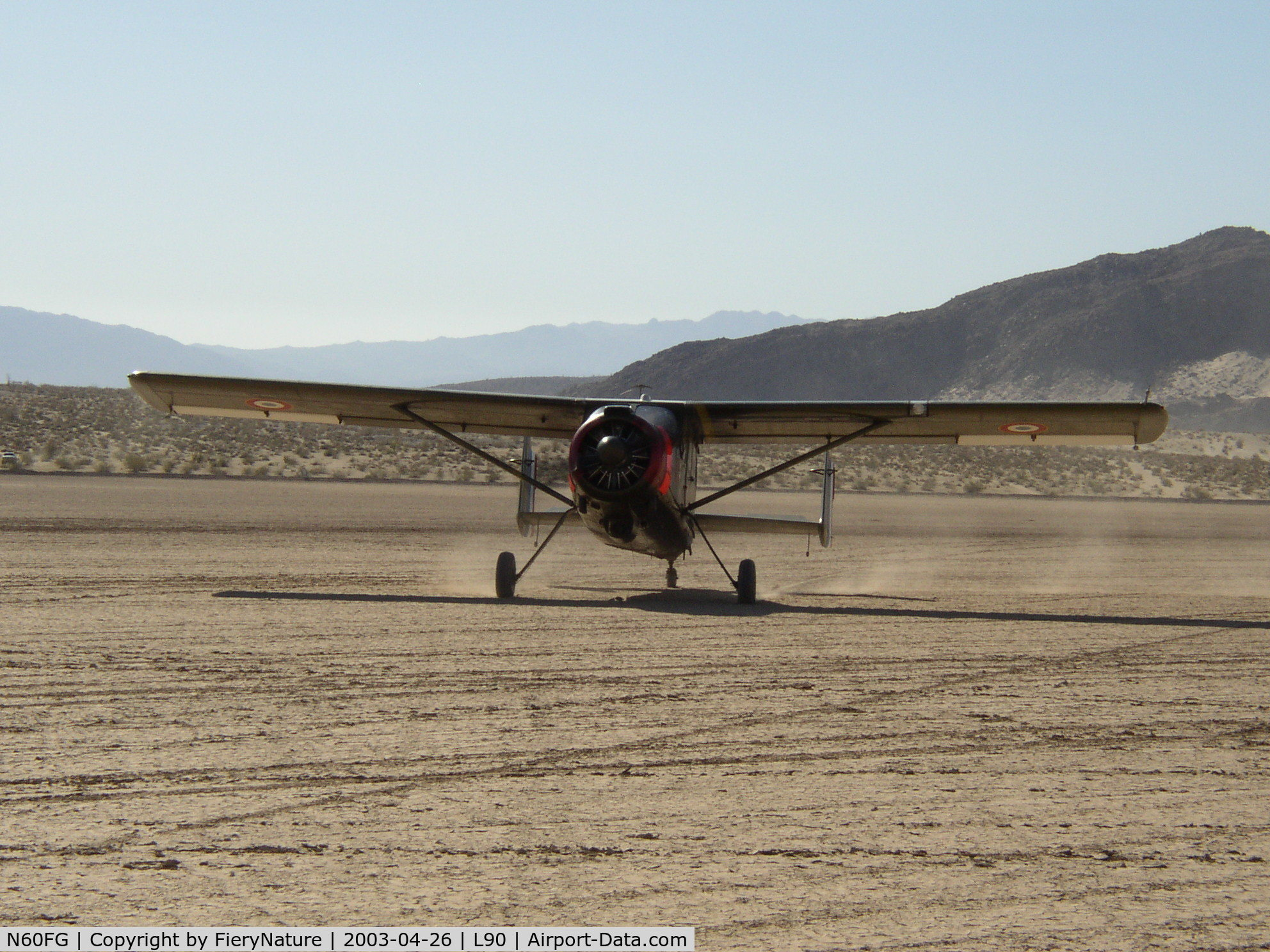N60FG, Max Holste MH-1521M Broussard C/N 214, Broussard 214 taxi for take off at Ocotillo Wells