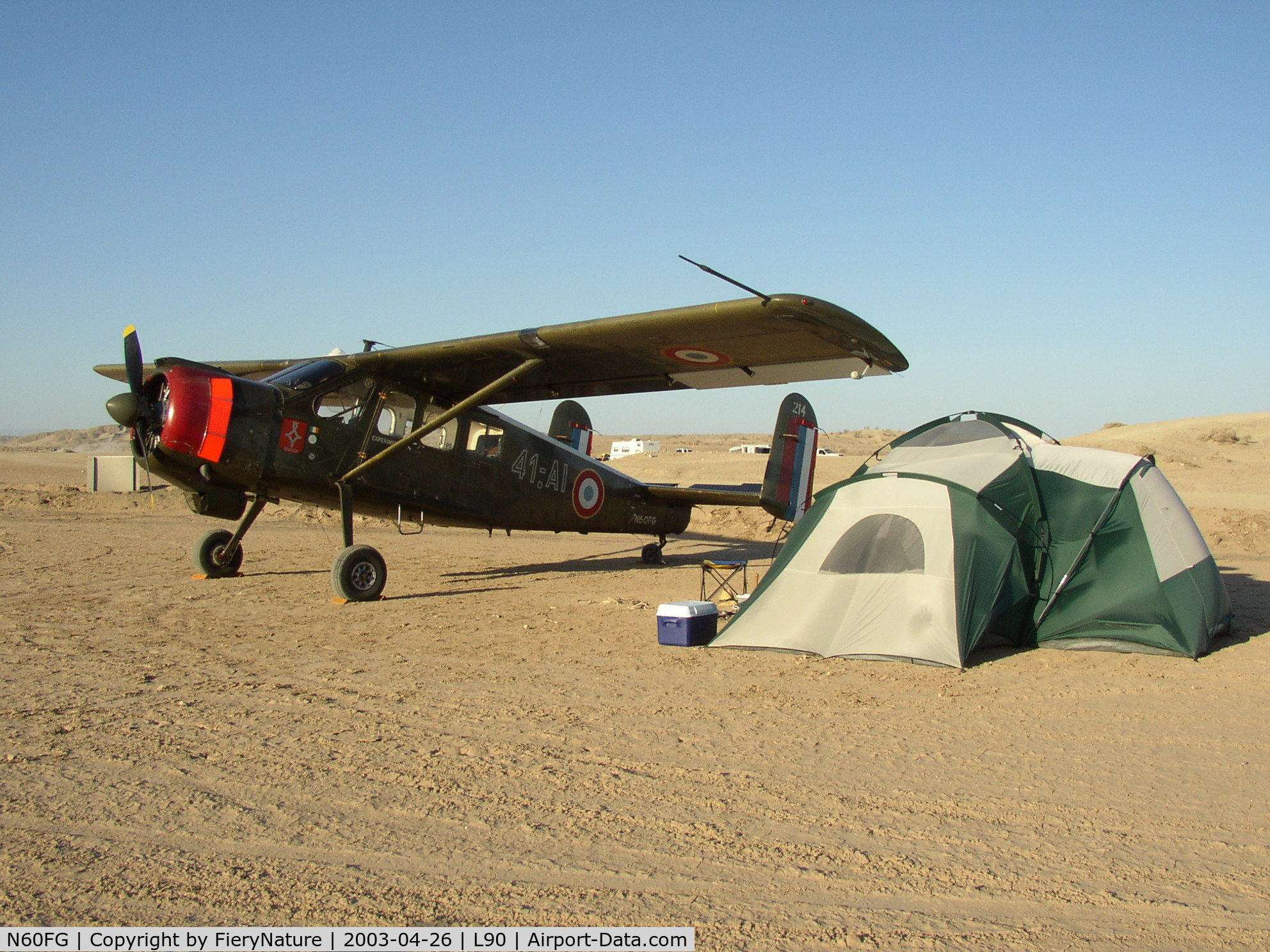 N60FG, Holste MH-1521M Broussard C/N 214, Camping under the wing of Broussard 214 at Ocotillo Wells
