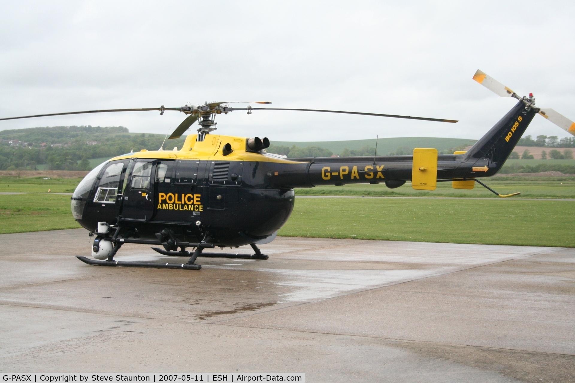 G-PASX, 1989 MBB Bo.105DBS-4 C/N S.814, Taken on a recent base tour at Shoreham