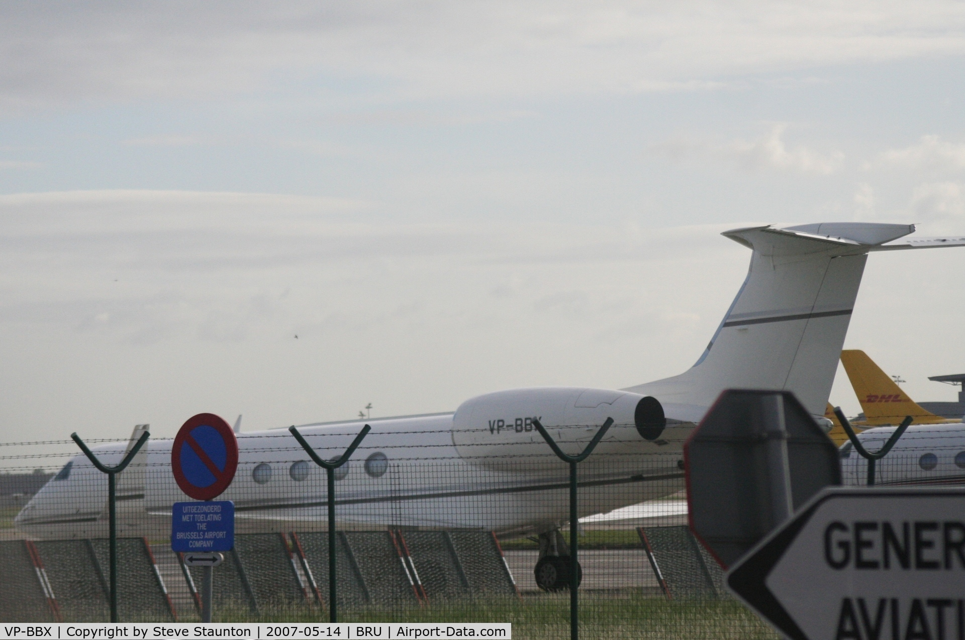 VP-BBX, Gulfstream Aerospace G-V Gulfstream V C/N 622, Taken from inside a coach at Brussels Airport