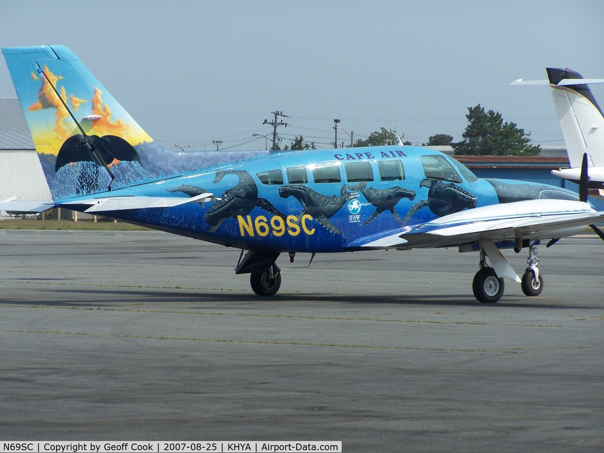 N69SC, 1979 Cessna 402C C/N 402C0041, N69SC Cape Air in a very colourful livery on the company's ramp