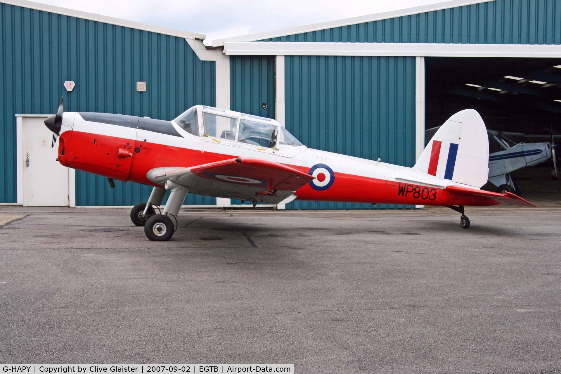 G-HAPY, 1952 De Havilland DHC-1 Chipmunk T.10 C/N C1/0697, Colour scheme of the ROYAL AIR FORCE - Serial No: WP803 - Registered Owner: ASTROJET LTD