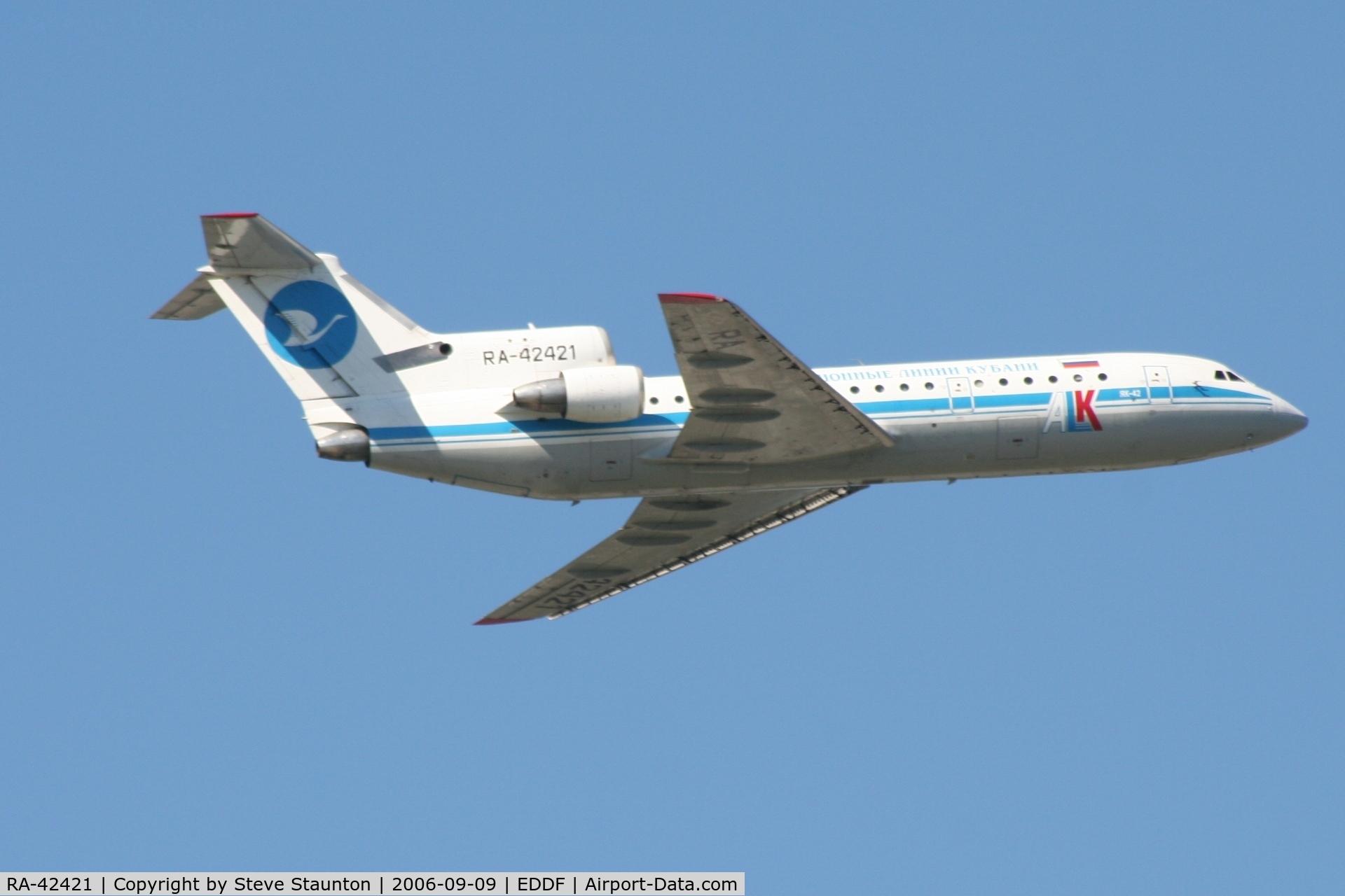 RA-42421, Yakovlev Yak-42D C/N 4520422303017, Taken at Frankfurt September 2006