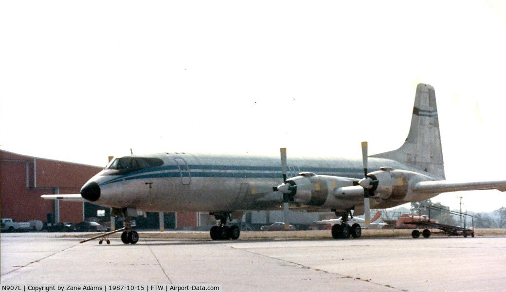 N907L, 1961 Canadair CL-44D4 C/N 27, On the ramp at Meacham Field