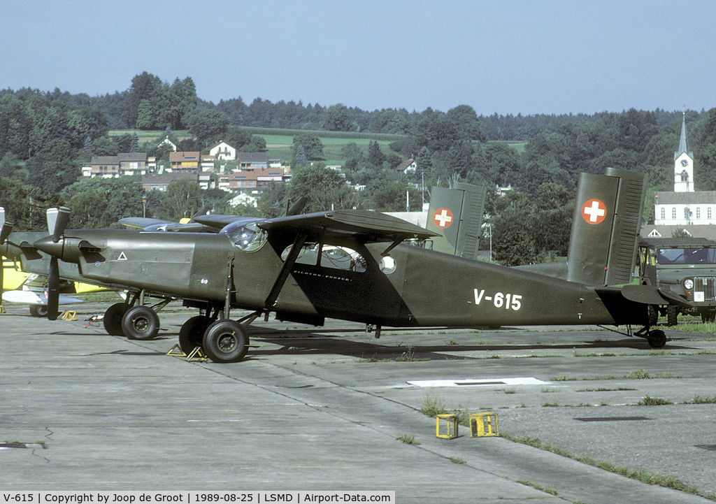 V-615, Pilatus PC-6/B2-H2 C/N 635, Seen in its former glory on the Dübendorf flightline. This aircraft was w/o in 2002.