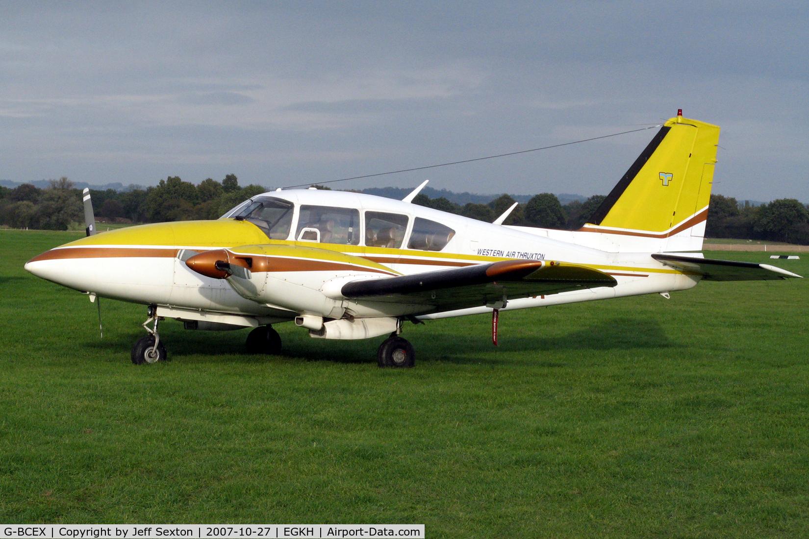 G-BCEX, 1973 Piper PA-E23-250 Aztec C/N 27-7305024, Headcorn Flight-line