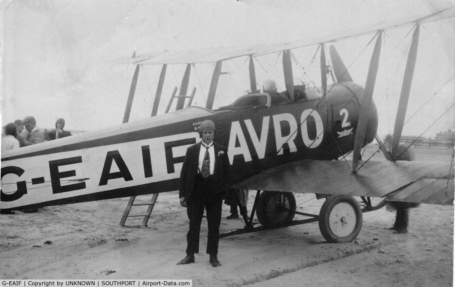 G-EAIF, Avro 536 C/N B4, MY FATHER STANDING ALONGSIDE G-EAIF AVRO- J.C. WHALLEY