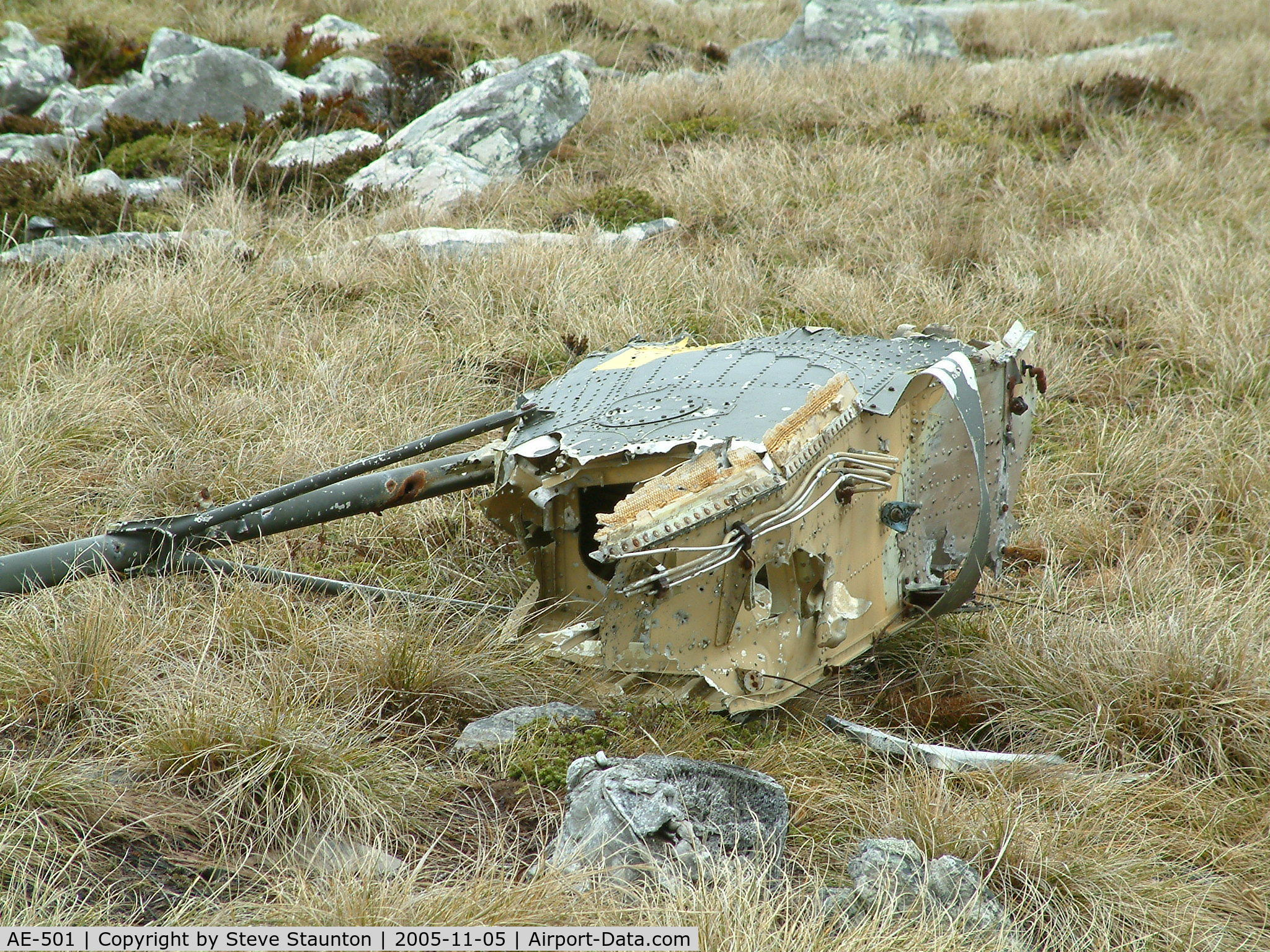 AE-501, Aérospatiale SA-330L Puma C/N 1540, Wrecked Westland Puma of the Argentine AF located at the foot of Mount Kent, Falkland Island. This aircraft was destroyed during the 1982 Falklands Conflict.