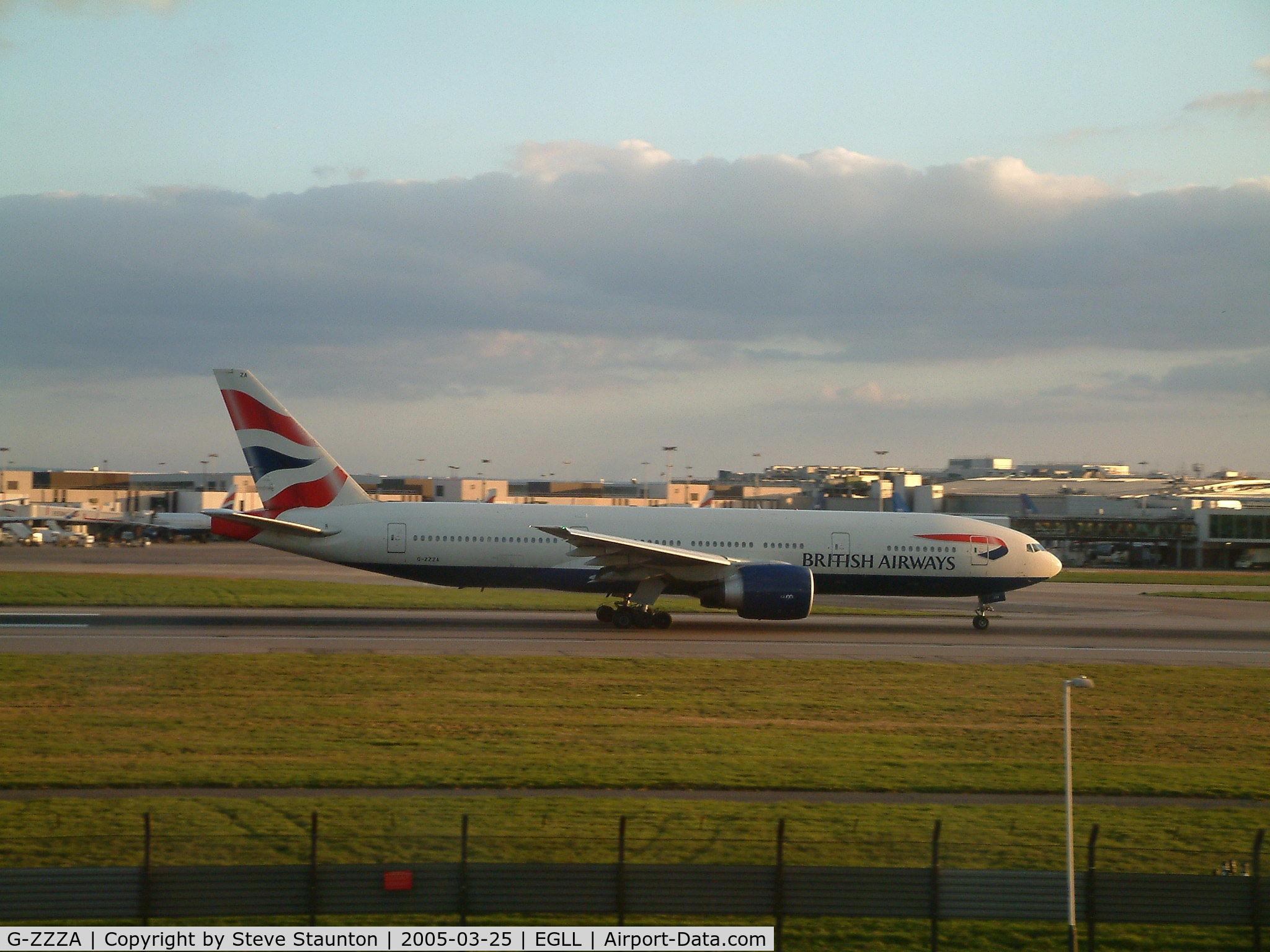 G-ZZZA, 1995 Boeing 777-236 C/N 27105, Taken at Heathrow Airport March 2005
