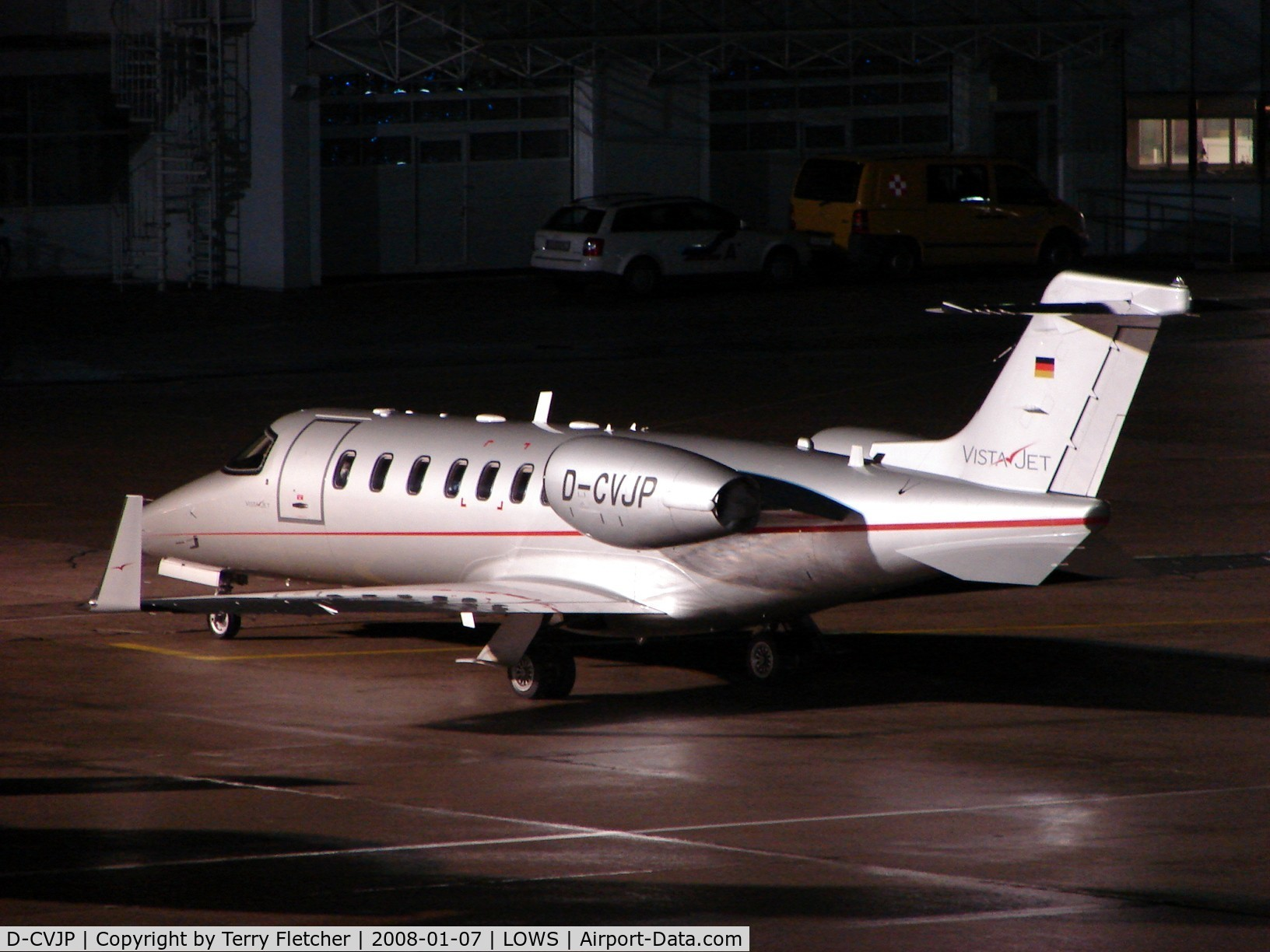 D-CVJP, 2007 Learjet 40 C/N 45-2079, Vistajet's Lear 40 was a nightstopper at Salzburg Airport