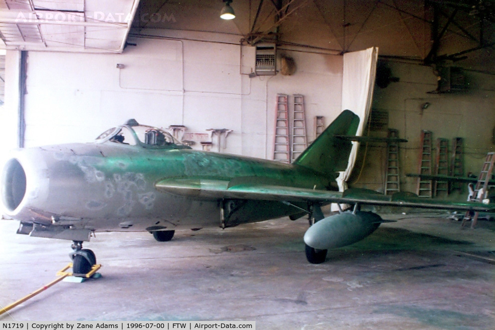 N1719, 1960 PZL-Mielec Lim-5 (MiG-17F) C/N 1C1719, Mig-17 in the paint shop, Ft. Worth, TX - This aircraft was destroyed in a crash at Amarillo in Sept. 1996  -  NTSB report- http://www.ntsb.gov/ntsb/brief.asp?ev_id=20001208X06724&key=1