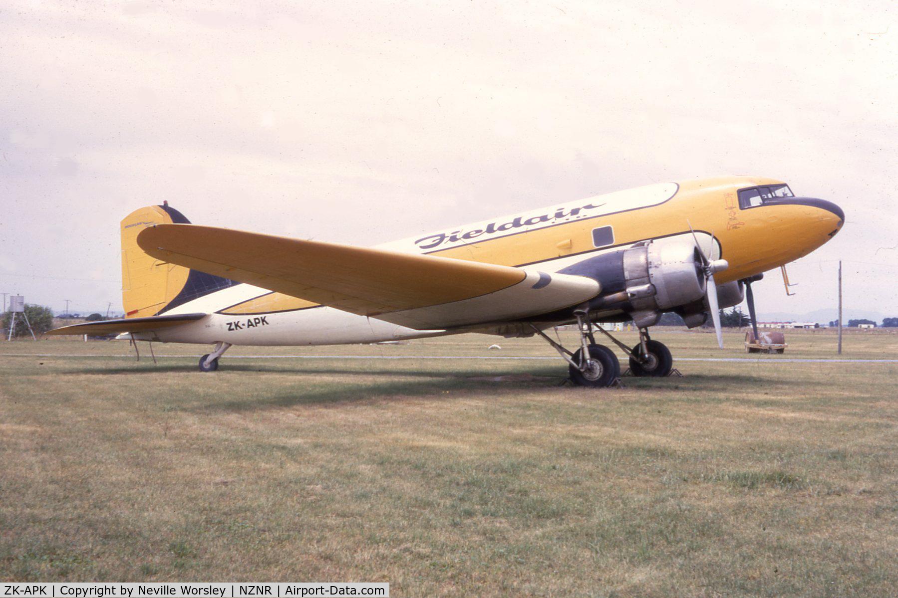 ZK-APK, 1945 Douglas C-47B Skytrain C/N 16967/34227, At Napier 1971