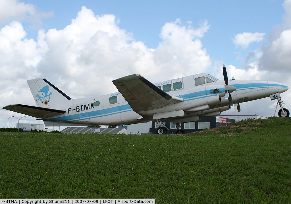 F-BTMA, 1969 Beech 99 Airliner C/N U-90, Preserved on a roundabout near the Airport...