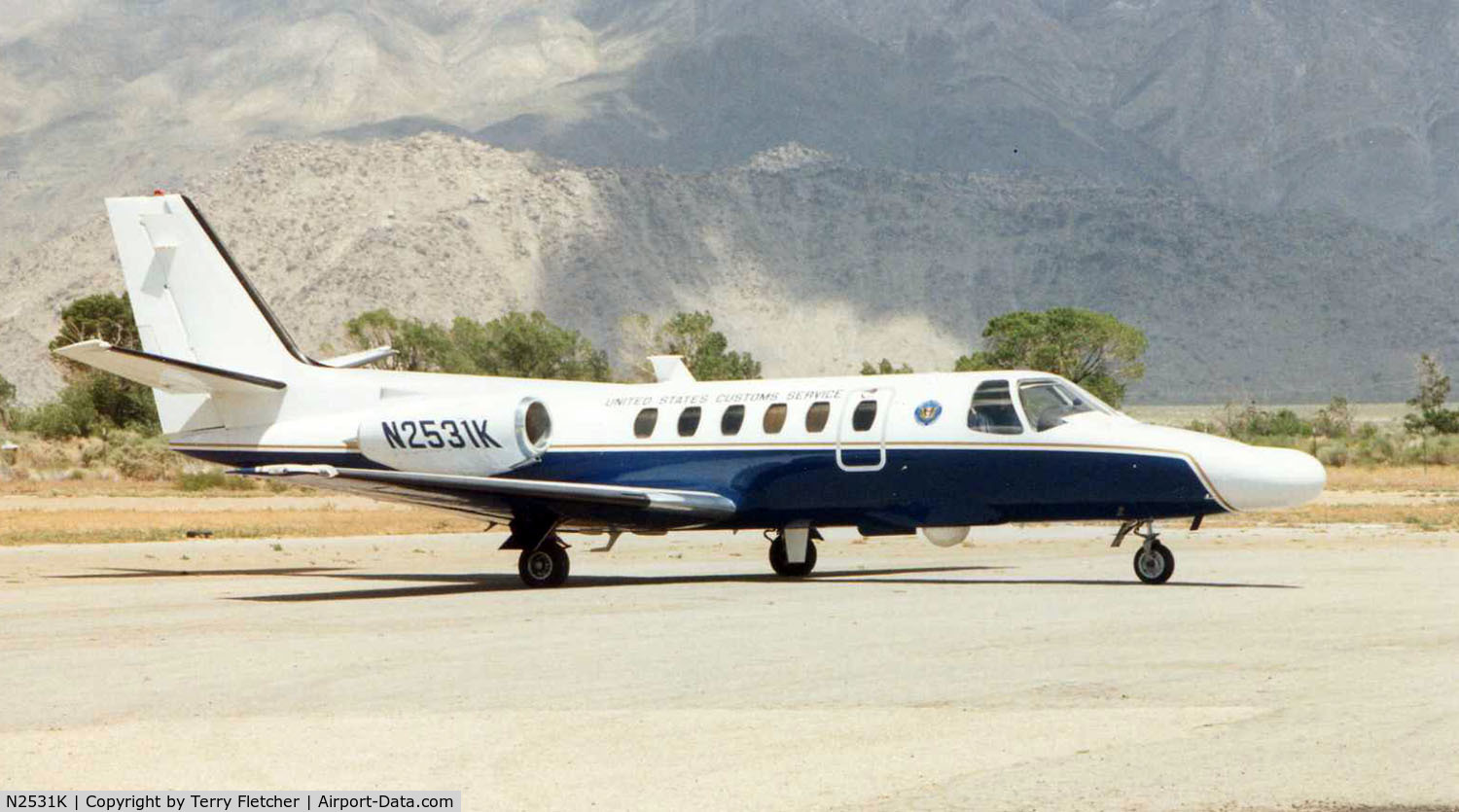 N2531K, 1989 Cessna 550 Citation II C/N 550-0594, US Cutoms Cessna 550 at a small strip in Nevada in 1997