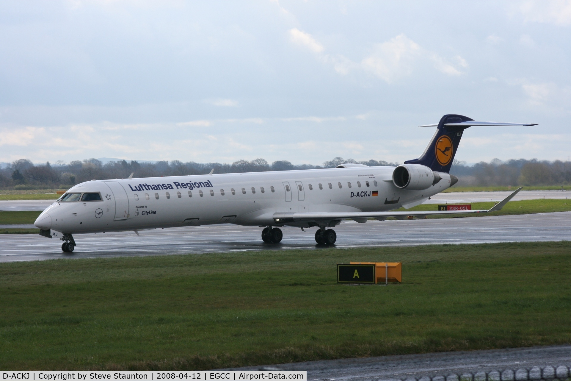 D-ACKJ, 2006 Bombardier CRJ-900LR (CL-600-2D24) C/N 15089, Taken at Manchester Airport on a typical showery April day