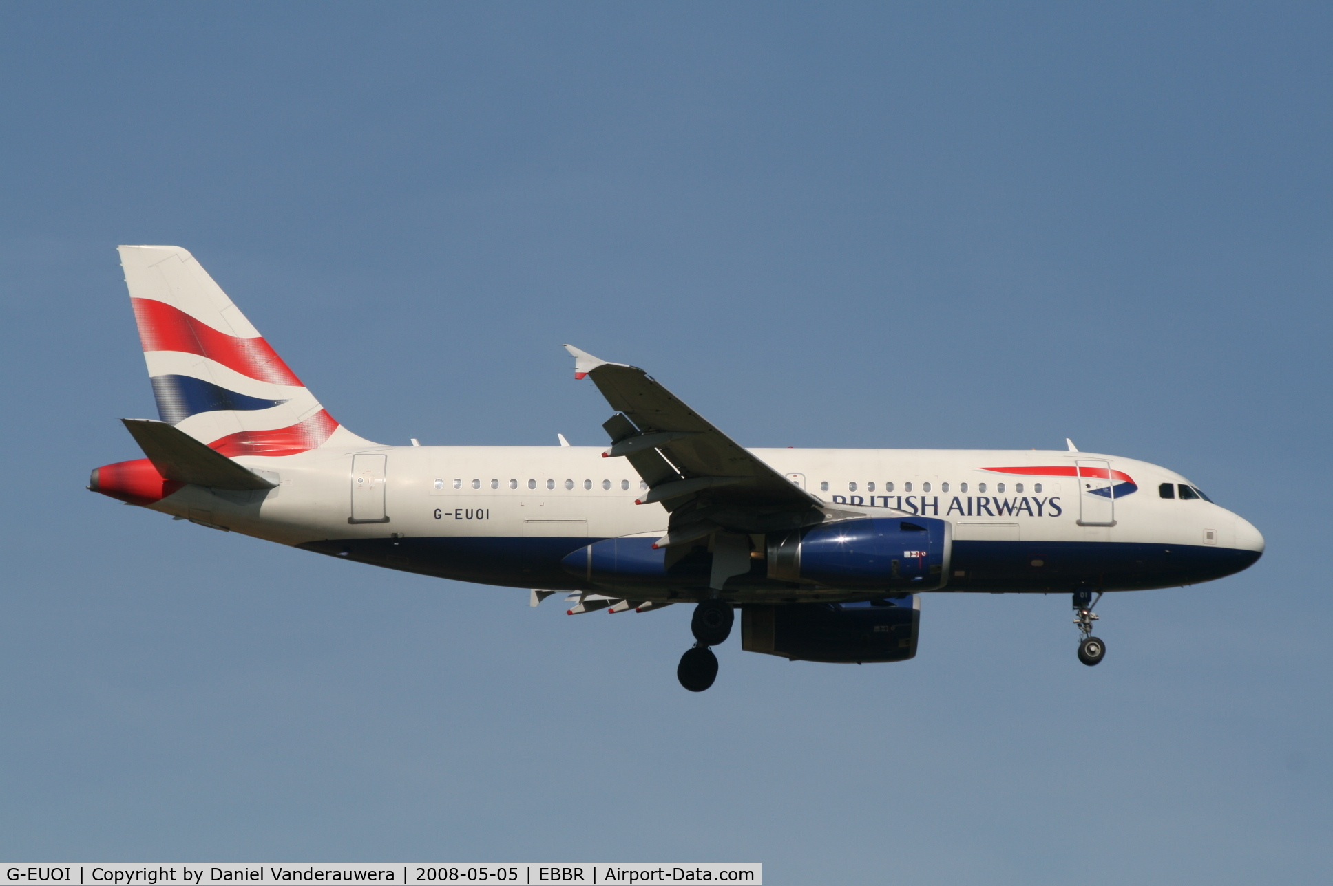 G-EUOI, 2001 Airbus A319-131 C/N 1606, arrival of flight BA392 to rwy 02