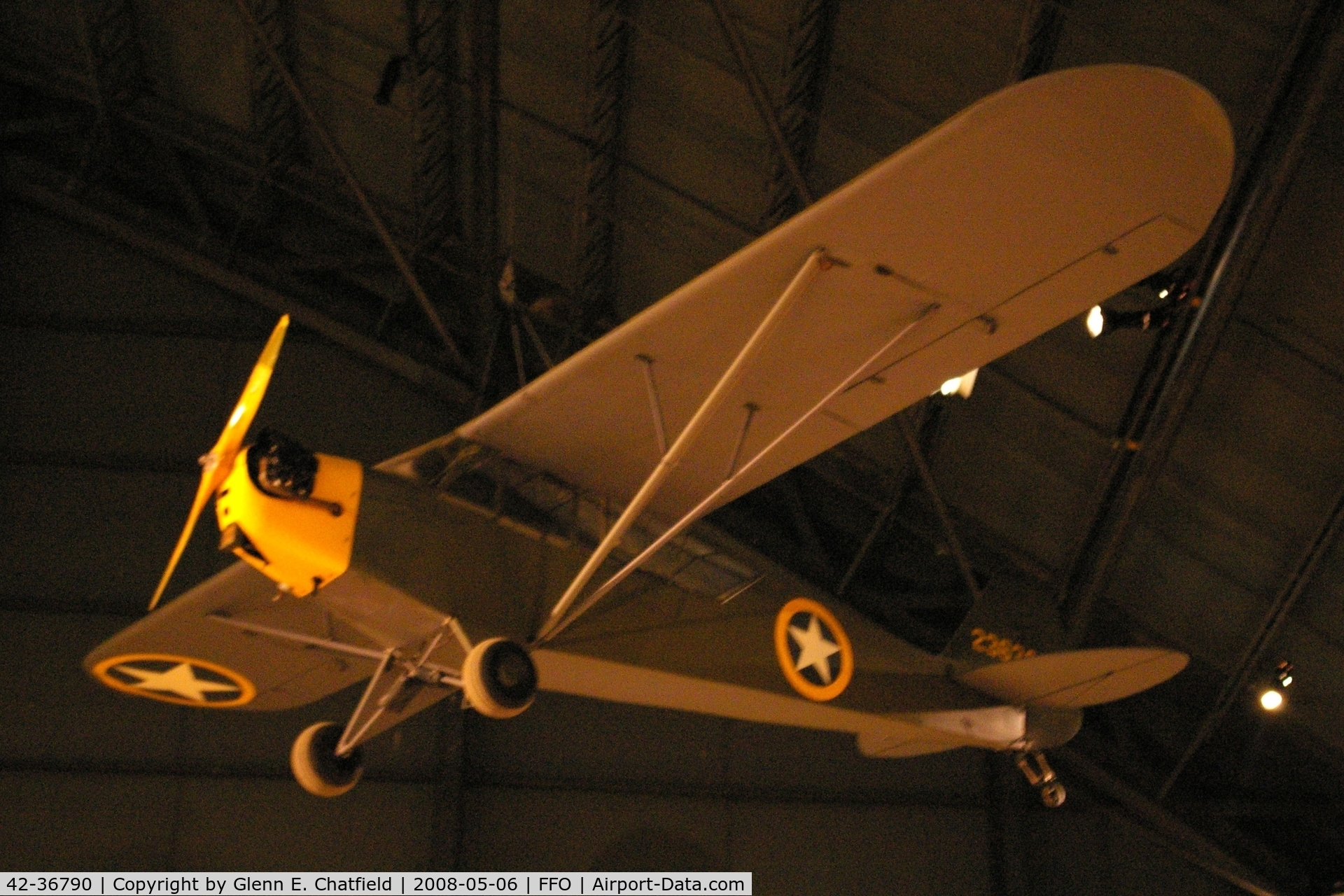 42-36790, Piper L-4A Grasshopper (O-59A / J3C-65) C/N 8914, Hanging from the ceiling in the National Museum of the U.S. Air Force